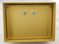 CHARTER CLUB Silver-Tone Blue Crystal Earrings Msrp $27.50 *New in original Box
