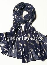 Ladies Women Fashion Soft Long Neck Feather Silver Foil Printed Scarf Shawl Wrap