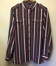 New Jones New York Women's M Navy Blue / Red/ White Striped Button Up Blouse $89