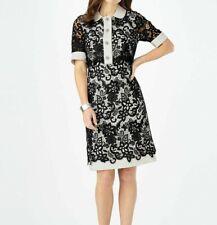 PHASE EIGHT NWOT Black White 'Vanna' Lace Cocktail Tea A-line Dress Size UK 14