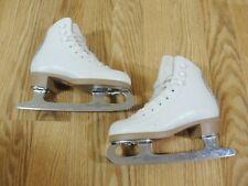 Reidell Figure Skates Model 21 White Youth Childrens Size 10 Sheffield Mk Blades