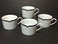 Mikasa Fine China Flat  Cups - White/Black Midnight Pattern - Set of 4 Mugs