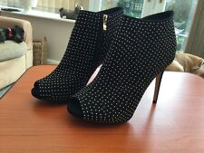 Ladies Xti Tentations Black/gold Peep Toe Stiletto Ankle Boots Size 39 New