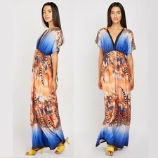 Maxi Grecian Dress Size 16 18 Feather Boho Print Summer Ladies Party Holiday 2X