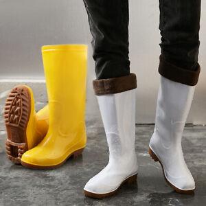 Womens Mens Mid Calf Rain Boots Lined Waterproof Outdoor Garden Work Rubber Shoe