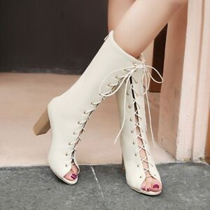 Women's Peep Toe Front Lace Up Mid-calf Boots Cone Party Dress Causal Heels