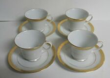 4x Noritake Majestic Gold 4290 - Saucers and Cups White w/Gold Trim - Free Ship