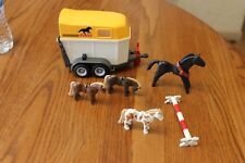 Playmobil yellow white grey horse trailer horse figures lot