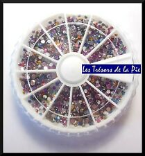 STRASS CRISTAL 3D ONGLES (x2000) - Nail art - RONDS - 2mm - Multicolore