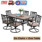 7 Pieces Metal Patio Furniture Set Outdoor Swivel Garden Chair Rectangular Table