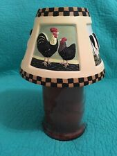 Yankee Candle Ceramic Large Candle Shade W/Primitive Roosters~Cow~Cat~ Rabbit
