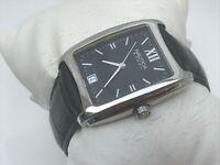 Nautica Steel Men Watch Analog Black Genuine Leather Strap Date Calendar WR 30M