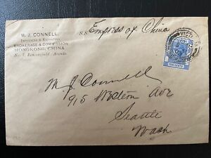 Hong Kong 1903 QV 10c M.J. Connell Company Cover Used to USA Empress of China