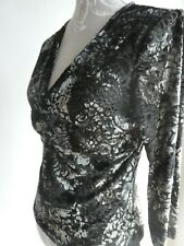 LADIES BLACK & SILVER VELVETEEN DAMASK 3/4 SLEEVE TOP FROM MONSOON SIZE 14