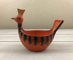 Vtg Midcentury Ceramic Bird Bowl Made in Italy Bitossi Style Orange MCM