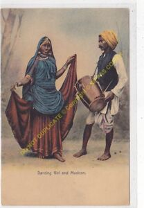 CPA OLD POSTCARD INDE INDIA Dancing Girl and Musician