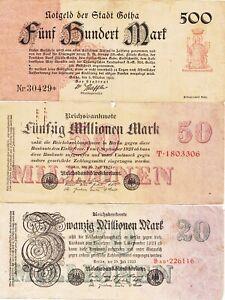 Allemagne lot de 10 billets du XX siècle
