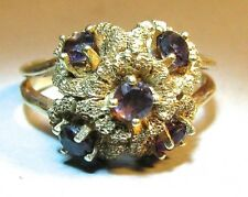 Antique Victorian 14K Yellow Gold Amethyst Flower Ring Cocktail