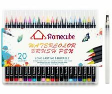 Homecube 20 Pcs Markers Pens Water Colours Brush Fine Nibs With Caddy By Artiste
