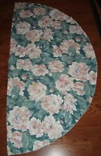 Round Tablecloth with Bound Edge and Coral Flowers and Green Leaves.