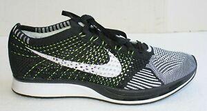 Nike Men's Flyknit Racer Black White Volt 526628-011. US Size 8.5