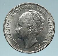 1931 Netherlands Kingdom w Queen WILHELMINA Silver 1 Gulden Coin i83146