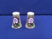 Vintage Lefton China Salt & Pepper Shakers Hand Painted Roses Collectible Good