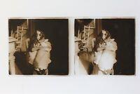 Famille Francia Foto Stereo Amateur P50L5n14 Placca Da Lente Vintage c1910