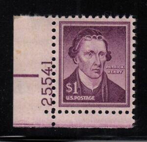 1958 Patrick Henry $1 Sc 1052a MNH dry print plate number single Hebert CV $6