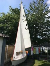GP14 sailing dinghy classic wooden hull and launch trailer.