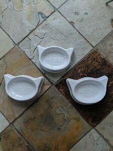 3x Whiskas cat shaped ceramic bowls