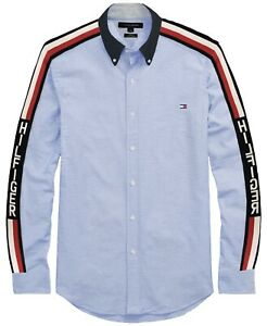 Tommy Hilfiger Mens Blue Shirt with Side Stripe & Logo - Navy Collar Size XS