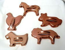 Copper Cookie Cutters Lot of 5 Animal Bunny Horse Chicken Scottie Lion Vintage