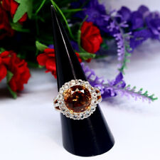 NATURAL 12 X 25 mm. ROUND CHAMPAGNE WITH WHITE TOPAZ RING 925 STERLING SILVER