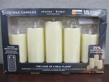 """Sterno Home 5 Piece Flameless LED Wax Pillar Candles w/remote Timer Options 3"""""""