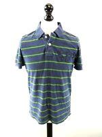 SUPERDRY Mens Polo Shirt M Medium Blue Green Stripes Cotton