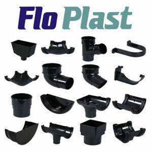 Floplast Half Round Guttering - Downpipes - Fittings 112mm Black Guttering