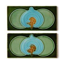 "Antique Tile Art Nouveau Majolica Corn Bros 6""x3"" Border Green Blue - Set of 2"