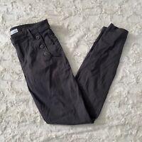 Ann Taylor LOFT Women's Gray Skinny Sailor Pants Button Pockets Size 28/6 T