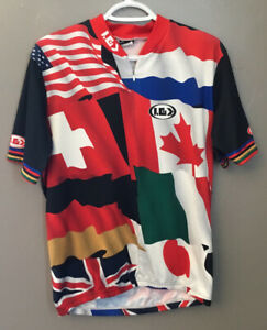 Louis Garneau Flags Pull-Over Cycling Bike Jersey ~Multi-Color~ A