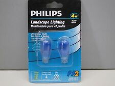 Lot of (2) Philips BC45/B/TP/12V Blue Landscape Lighting Wedge Base 4W 12V