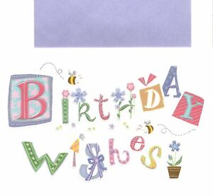Purple Happy Birthday Wishes Garden Theme Sunrise Hallmark Greeting Card