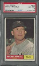 1961 Topps Baseball card #300 Mickey Mantle PSA 6 EX-MT NICE!