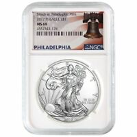 2017 (P) American Silver Eagle NGC MS-69 White Core   Liberty Bell Label