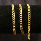 New 18K Yellow Gold Filled 4mm Curb Link Chain Necklace Lobster Clasp