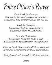 "Police Officer's Prayer  8"" x 10"" Cotton/Poly Blend Fabric"
