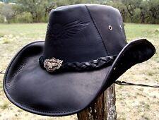 Montecarlo Bullhide Biker LEATHER KING of the ROAD Rock n Roll Cowboy Hat LARGE