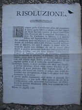 M399-DUCATO MILAN-ON LETTERE FREE BAGGAGE ALLOWANCE MAIL 1786