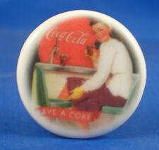 """1""""  PORCELAIN CHINA  BUTTON -- COCA COLA - HAVE A COKE"""