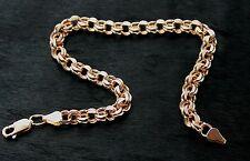 585 Russian 14k Rose Gold Garibaldi Bismark Bracelet 21cm Gift Boxed